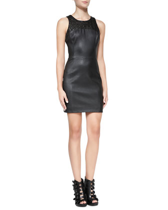 Stretch Leather Sleeveless Sheath Dress