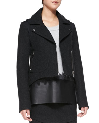 Bonded Wool High-Low Jacket, Leather-Hem Wool/Cashmere Sweater & Bonded ...