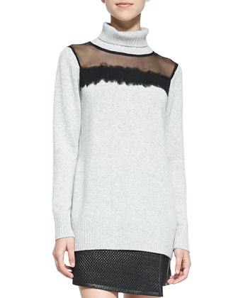 Sheer-Top Knit Turtleneck Sweater & Woven Leather Mini Wrap Skirt