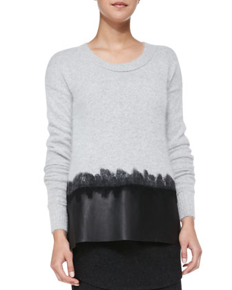 Leather-Hem Wool/Cashmere Sweater