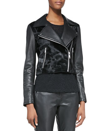 Calf Hair Zip-Front Jacket