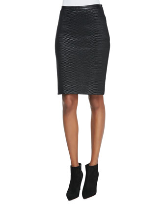 Woven Leather-Front Mid-Length Skirt