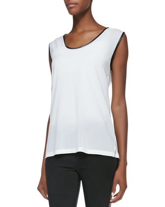 Leather-Trim Silk Sleeveless Blouse