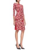 Ria Floral-Print Boat-Neck Sheath Dress