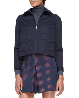 Lane Back-Pleated Bifabric Jacket