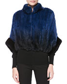 Ombre Rabbit Fur Bolero Jacket