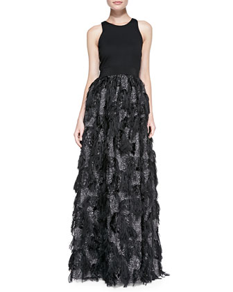 Stella Sleeveless Fringed-Skirt Gown