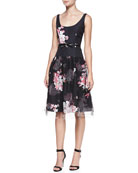 Natalie Floral-Print Sleeveless Cocktail Dress