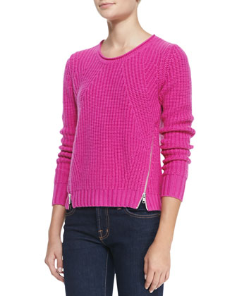 Shaker-Stitch Zipper-Hem Cashmere Sweater, Fiesta
