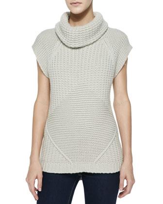 Waffle-Rib Cowl-Neck Cap-Sleeve Sweater