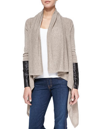 Leather-Sleeve Draped Cashmere Cardigan