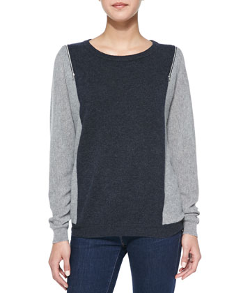 Colorblock Zip-Shoulder Cashmere Sweater