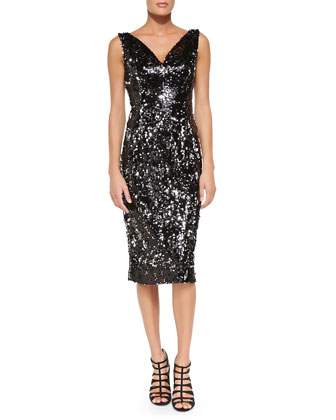 Gemma Sleeveless Sequined Cocktail Dress