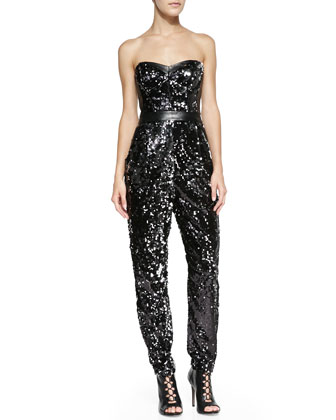 Ava Sequined Strapless Jumpsuit
