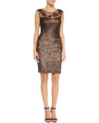 Metallic Lace-Yoke Cocktail Dress