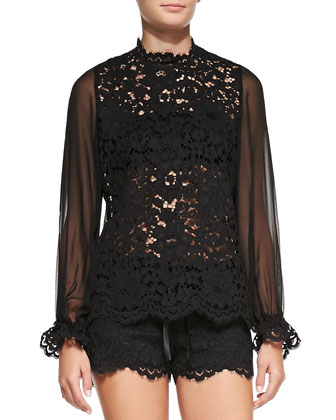Emma Sheer Lace/Chiffon Blouse