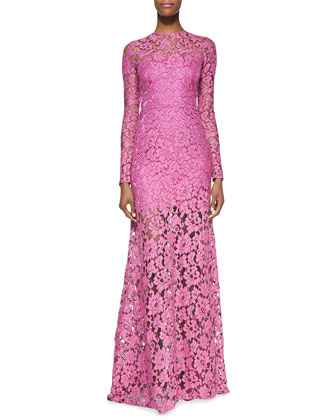 Belgrade Lace Long-Sleeve Gown, Orchid
