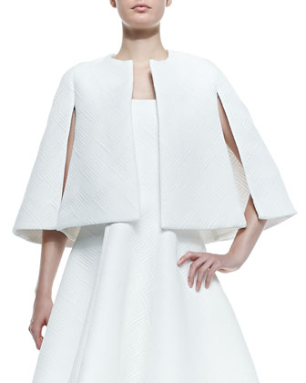 Dalianah Textured Cape & Natasia Textured Strapless A-Line Dress