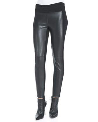 Ski Pole Faux-Leather/Ponte Pants