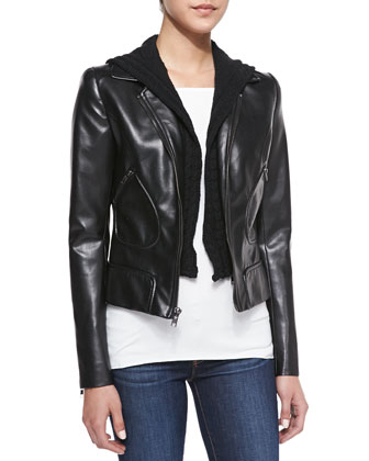 Jib Knit/Faux-Leather Moto Jacket