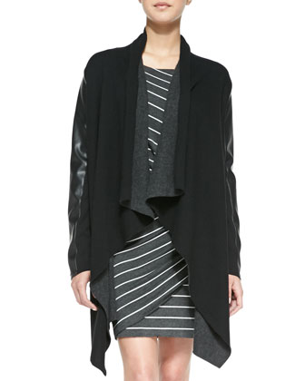Compression Draped Coat with Faux-Leather Sleeves