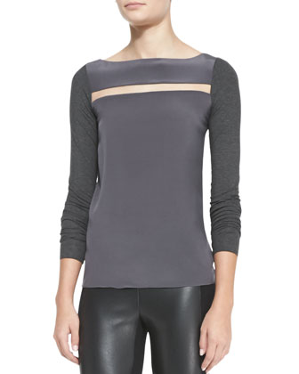 Balaclava Mixed-Fabric Long-Sleeve Top