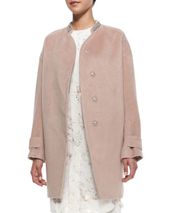 Melton Cocoon Coat & Chiffon Foil-Print 3/4-Sleeve Dress