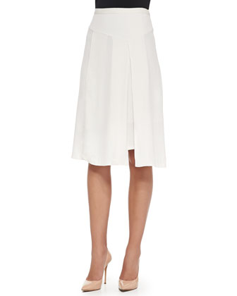 Double-Layer Crepe Jacket, Jersey Drape-Back Top & Crepe Asymmetric Skirt