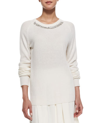 Knit Embellished-Neck Pullover