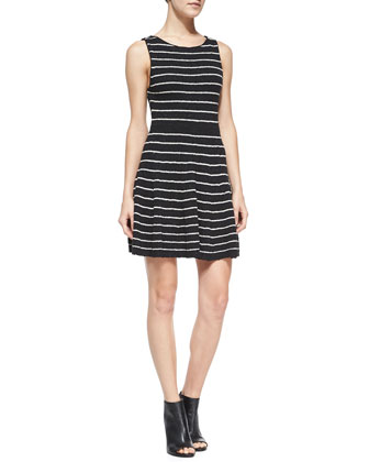 Monah Shimmery Striped Knit Dress