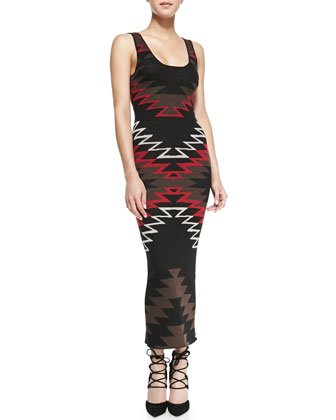 Keira Colorblock Knit Draped Vest & Tribal-Print Knit Maxi Dress