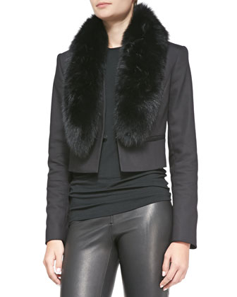 Ridley Straight Cropped Jacket with Fur Collar