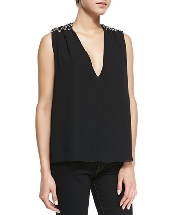 Harper Beaded-Shoulder V-Neck Top