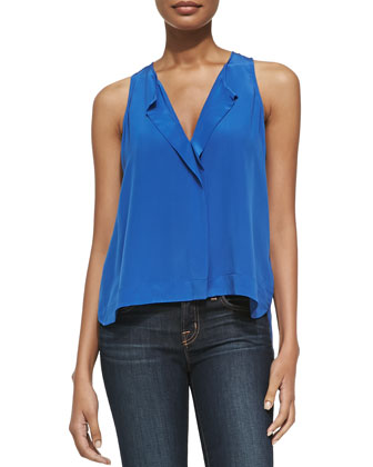 Sleeveless Hidden-Placket Top