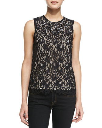 Laika Jewel-Encrusted Lace Top