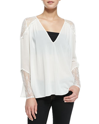 Keira Colorblock Knit Draped Vest & Lace-Inset V-Neck Tunic