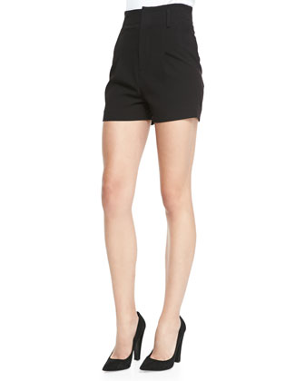 Rita Contrast-Trim French-Cuff Blouse & High-Waist Pleated-Front Shorts