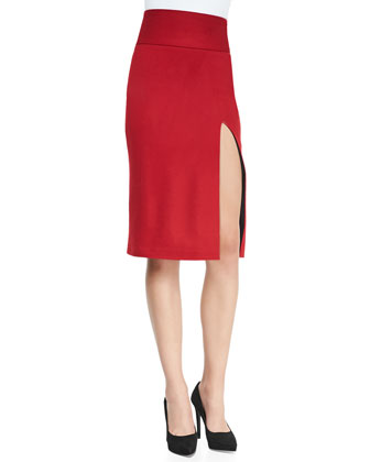 Tani Front-Slit Knit Pencil Skirt