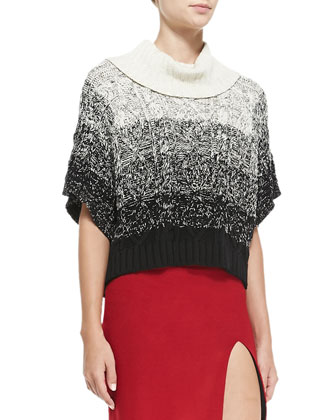 Florence Marbled Chunky Knit Sweater & Tani Front-Slit Knit Pencil Skirt