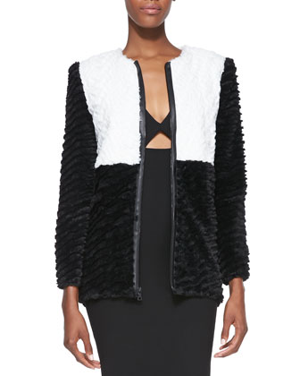 Pali Two-Tone Faux-Fur Jacket & Yve Formfitting Sleeveless Cutout Dress