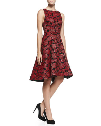 Bailey Rose-Jacquard A-Line Dress
