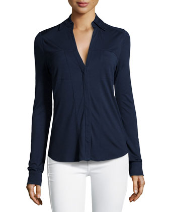Jersey Button-Front Blouse, Navy