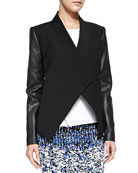 Abree Ponte/Leather Drape Jacket