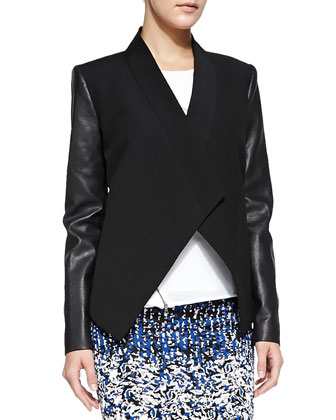 Abree Ponte/Leather Drape Jacket, Leslee Flutter-Panel Zipper Top & Pavel ...