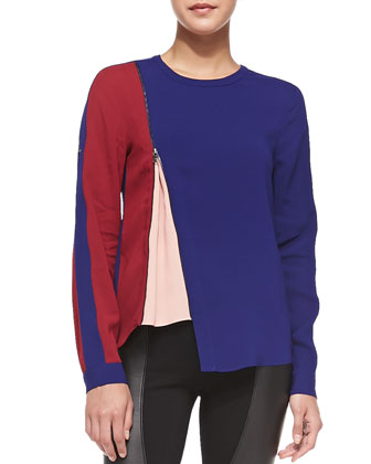 Carie Colorblock Zip-Detail Top