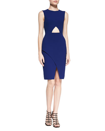 Cutout-Front Faux-Wrap Dress