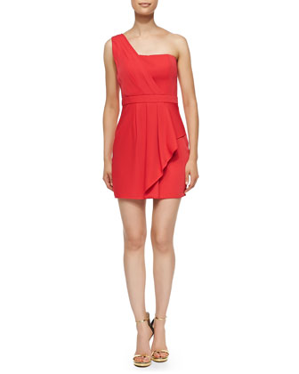 Vaness Pleated One-Shoulder Dress