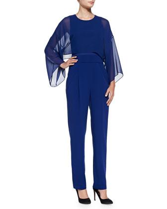 Zoee Sheer-Overlay Crepe Jumpsuit