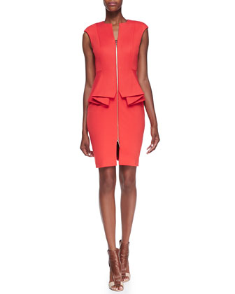 Jamthun Zip-Front Peplum Dress, Dark Orange