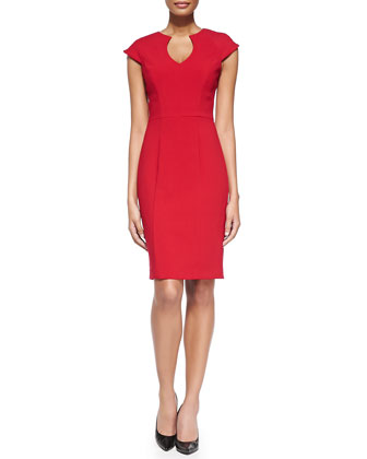 Stefan Split-Neck Fitted Dress